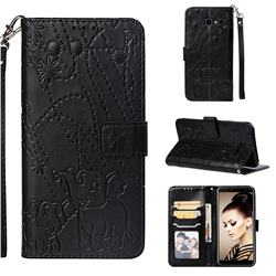 Embossing Fireworks Elephant Leather Wallet Case for Samsung Galaxy J4 Plus(6.0 inch) - Black