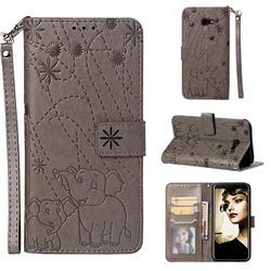 Embossing Fireworks Elephant Leather Wallet Case for Samsung Galaxy J4 Plus(6.0 inch) - Gray
