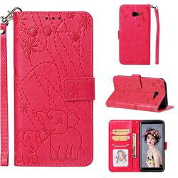 Embossing Fireworks Elephant Leather Wallet Case for Samsung Galaxy J4 Plus(6.0 inch) - Red