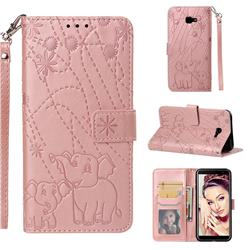 Embossing Fireworks Elephant Leather Wallet Case for Samsung Galaxy J4 Plus(6.0 inch) - Rose Gold