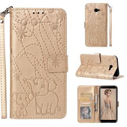 Embossing Fireworks Elephant Leather Wallet Case for Samsung Galaxy J4 Plus(6.0 inch) - Golden