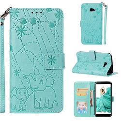 Embossing Fireworks Elephant Leather Wallet Case for Samsung Galaxy J4 Plus(6.0 inch) - Green