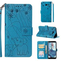 Embossing Fireworks Elephant Leather Wallet Case for Samsung Galaxy J4 Plus(6.0 inch) - Blue