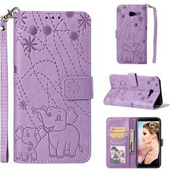 Embossing Fireworks Elephant Leather Wallet Case for Samsung Galaxy J4 Plus(6.0 inch) - Purple
