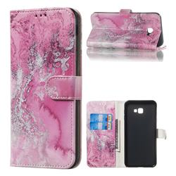 Pink Seawater PU Leather Wallet Case for Samsung Galaxy J4 Plus(6.0 inch)