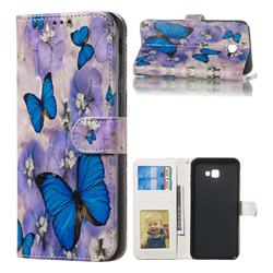 Purple Flowers Butterfly 3D Relief Oil PU Leather Wallet Case for Samsung Galaxy J4 Plus(6.0 inch)