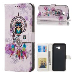 Wind Chimes Owl 3D Relief Oil PU Leather Wallet Case for Samsung Galaxy J4 Plus(6.0 inch)