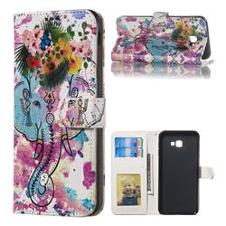 Flower Elephant 3D Relief Oil PU Leather Wallet Case for Samsung Galaxy J4 Plus(6.0 inch)