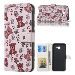 Cute Bear 3D Relief Oil PU Leather Wallet Case for Samsung Galaxy J4 Plus(6.0 inch)