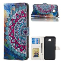 Mandala Flower 3D Relief Oil PU Leather Wallet Case for Samsung Galaxy J4 Plus(6.0 inch)
