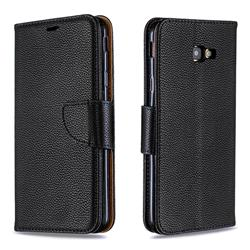 Classic Luxury Litchi Leather Phone Wallet Case for Samsung Galaxy J4 Plus(6.0 inch) - Black