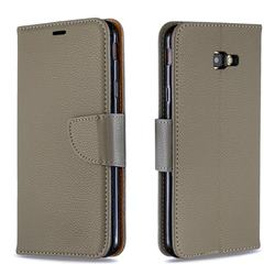 Classic Luxury Litchi Leather Phone Wallet Case for Samsung Galaxy J4 Plus(6.0 inch) - Gray