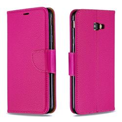 Classic Luxury Litchi Leather Phone Wallet Case for Samsung Galaxy J4 Plus(6.0 inch) - Rose