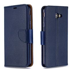 Classic Luxury Litchi Leather Phone Wallet Case for Samsung Galaxy J4 Plus(6.0 inch) - Blue