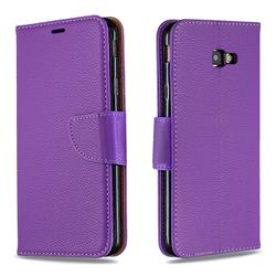 Classic Luxury Litchi Leather Phone Wallet Case for Samsung Galaxy J4 Plus(6.0 inch) - Purple