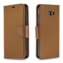 Classic Luxury Litchi Leather Phone Wallet Case for Samsung Galaxy J4 Plus(6.0 inch) - Brown