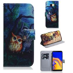 Oil Painting Owl PU Leather Wallet Case for Samsung Galaxy J4 Plus(6.0 inch)