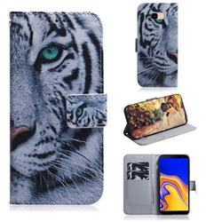 White Tiger PU Leather Wallet Case for Samsung Galaxy J4 Plus(6.0 inch)