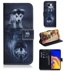 Wolf and Dog PU Leather Wallet Case for Samsung Galaxy J4 Plus(6.0 inch)