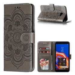 Intricate Embossing Datura Solar Leather Wallet Case for Samsung Galaxy J4 Plus(6.0 inch) - Gray