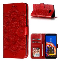 Intricate Embossing Datura Solar Leather Wallet Case for Samsung Galaxy J4 Plus(6.0 inch) - Red