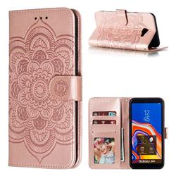 Intricate Embossing Datura Solar Leather Wallet Case for Samsung Galaxy J4 Plus(6.0 inch) - Rose Gold