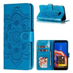 Intricate Embossing Datura Solar Leather Wallet Case for Samsung Galaxy J4 Plus(6.0 inch) - Blue