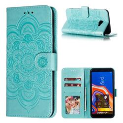 Intricate Embossing Datura Solar Leather Wallet Case for Samsung Galaxy J4 Plus(6.0 inch) - Green