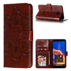 Intricate Embossing Datura Solar Leather Wallet Case for Samsung Galaxy J4 Plus(6.0 inch) - Brown
