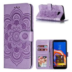 Intricate Embossing Datura Solar Leather Wallet Case for Samsung Galaxy J4 Plus(6.0 inch) - Purple