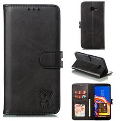 Embossing Happy Cat Leather Wallet Case for Samsung Galaxy J4 Plus(6.0 inch) - Black