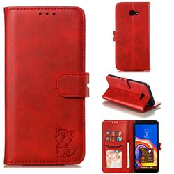 Embossing Happy Cat Leather Wallet Case for Samsung Galaxy J4 Plus(6.0 inch) - Red