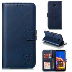 Embossing Happy Cat Leather Wallet Case for Samsung Galaxy J4 Plus(6.0 inch) - Blue