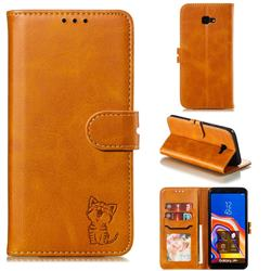 Embossing Happy Cat Leather Wallet Case for Samsung Galaxy J4 Plus(6.0 inch) - Yellow