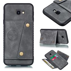 Retro Multifunction Card Slots Stand Leather Coated Phone Back Cover for Samsung Galaxy J4 Plus(6.0 inch) - Gray