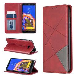 Prismatic Slim Magnetic Sucking Stitching Wallet Flip Cover for Samsung Galaxy J4 Plus(6.0 inch) - Red