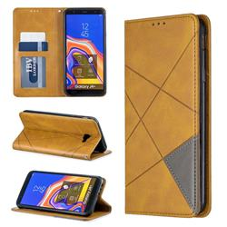 Prismatic Slim Magnetic Sucking Stitching Wallet Flip Cover for Samsung Galaxy J4 Plus(6.0 inch) - Yellow