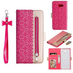 Luxury Lace Zipper Stitching Leather Phone Wallet Case for Samsung Galaxy J4 Plus(6.0 inch) - Rose