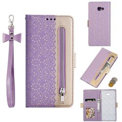 Luxury Lace Zipper Stitching Leather Phone Wallet Case for Samsung Galaxy J4 Plus(6.0 inch) - Purple
