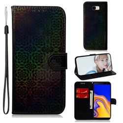 Laser Circle Shining Leather Wallet Phone Case for Samsung Galaxy J4 Plus(6.0 inch) - Black
