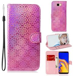 Laser Circle Shining Leather Wallet Phone Case for Samsung Galaxy J4 Plus(6.0 inch) - Pink
