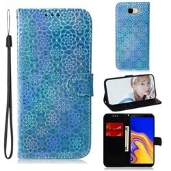 Laser Circle Shining Leather Wallet Phone Case for Samsung Galaxy J4 Plus(6.0 inch) - Blue