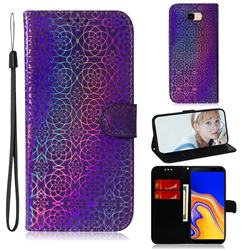 Laser Circle Shining Leather Wallet Phone Case for Samsung Galaxy J4 Plus(6.0 inch) - Purple