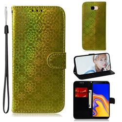 Laser Circle Shining Leather Wallet Phone Case for Samsung Galaxy J4 Plus(6.0 inch) - Golden