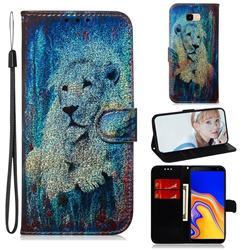 White Lion Laser Shining Leather Wallet Phone Case for Samsung Galaxy J4 Plus(6.0 inch)