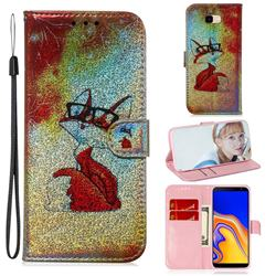 Glasses Fox Laser Shining Leather Wallet Phone Case for Samsung Galaxy J4 Plus(6.0 inch)