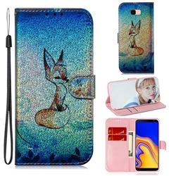 Cute Fox Laser Shining Leather Wallet Phone Case for Samsung Galaxy J4 Plus(6.0 inch)