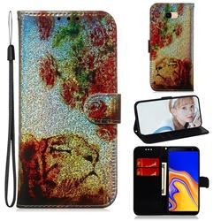 Tiger Rose Laser Shining Leather Wallet Phone Case for Samsung Galaxy J4 Plus(6.0 inch)