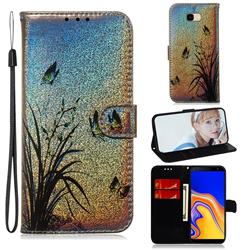 Butterfly Orchid Laser Shining Leather Wallet Phone Case for Samsung Galaxy J4 Plus(6.0 inch)