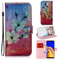 Magnolia Laser Shining Leather Wallet Phone Case for Samsung Galaxy J4 Plus(6.0 inch)